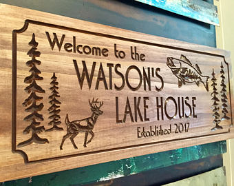 Pine Tree Deer Fish Lake House Sign