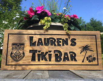 Tiki Bar Sign With Head Hibiscus Flower And Palm Tree